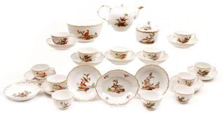 Antique Hague porcelain service set with polychrome decorati ...