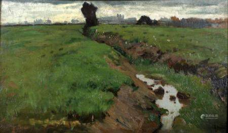Anton Mauve, Zaandam 1833-1888 Arnhem, Polder landscape, oil ...