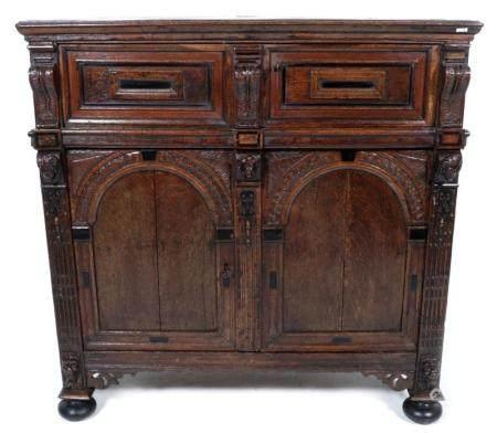 Antique oak- with ebony inlaid Zeeland 4-door cabinet, 17th ...