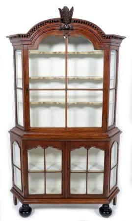 Antique oak 3-door cupboard with glass doors, h.200 x w.125 ...