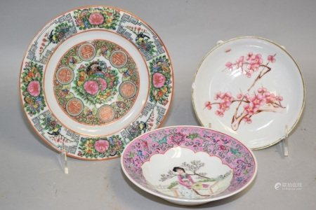 Three 19-20th C. Chinese Porcelain Famille Rose Plates