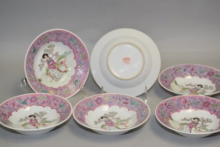 Group of Chinese Porcelain Famille Rose Plates