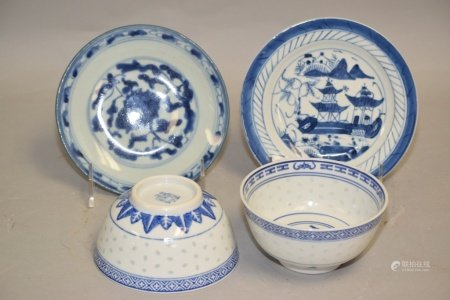 Four 19th C. Chinese Porcelain B&W Wares