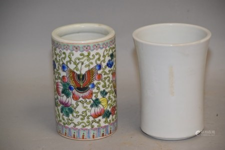 Two 19-20th C. Chinese Porcelain Brush Pots