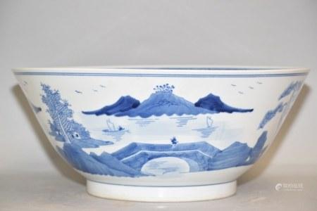 Large Chinese Export Porcelain B&W Bowl