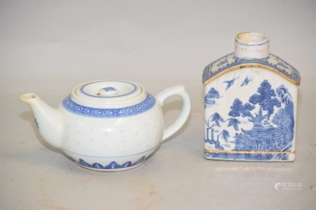 Two 19-20th C. Chinese Porcelain B&W Tea Wares
