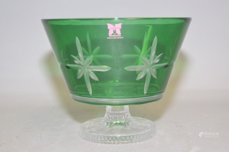 Marquis By Waterford Green Cut Crystal Pedestal Bowl