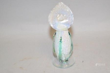 White Lily Art Glass Perfume Bottle, Signed R. Myatt