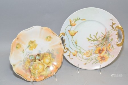 JP Limoges and Prussia Porcelain Handpainted Plate