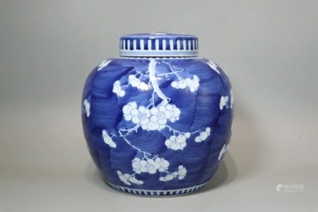 Blue and white cracked ice jar