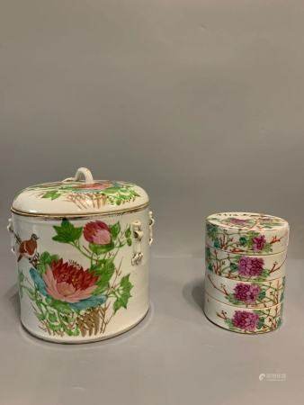 A group of late qing famille rose birds and flowers porcelain