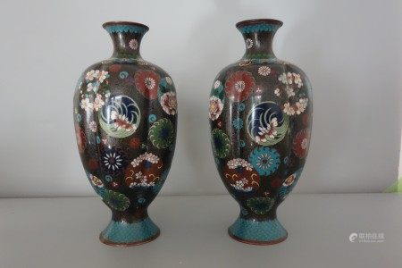 A pair of bronze clossione vases