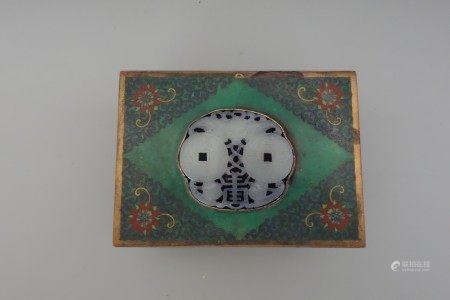 A bronze clossione vase box with jades