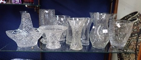 A COLLECTION OF CUT GLASS VASES
