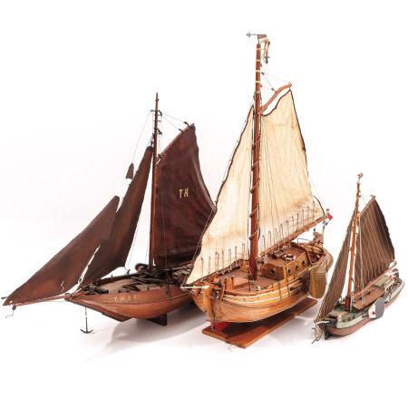 A Lot of 3 Wood Ship Models