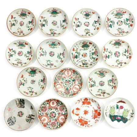 A Series of 15 Polychrome Small Plates