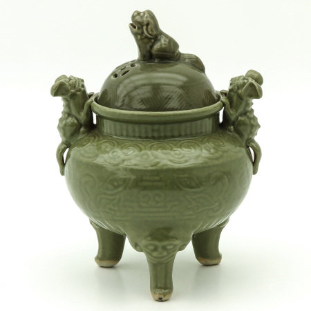 A Celadon Tripod Censer with Cover