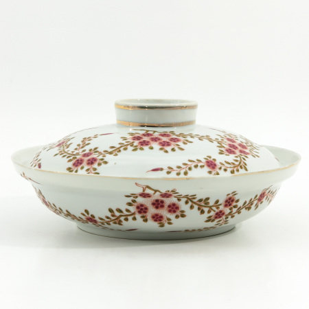 A Famille Rose Serving Bowl with Cover