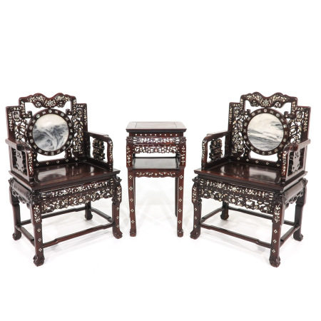 A Pair of Chinese Chairs and Side Table