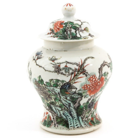 A Famille Verte Jar with Cover