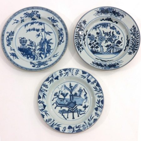 A Collectin of 3 Blue and White Plates