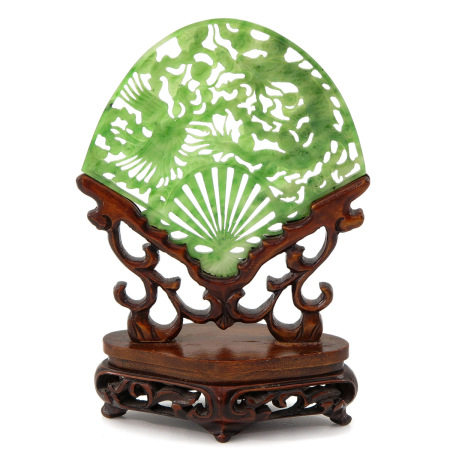 A Carved Jade Screen on Wood Stand