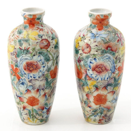 A Pair of Small Mille Fleur Vases