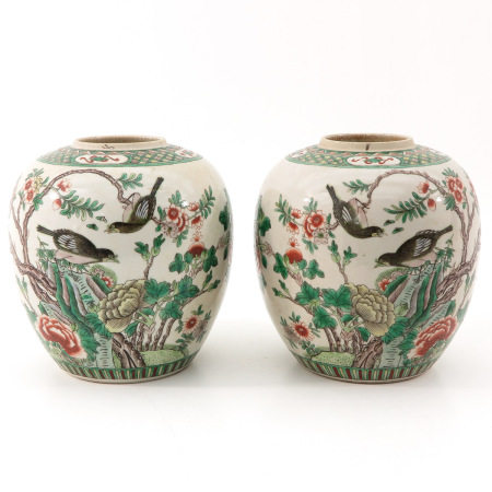 A Pair of Famille Verte Jars