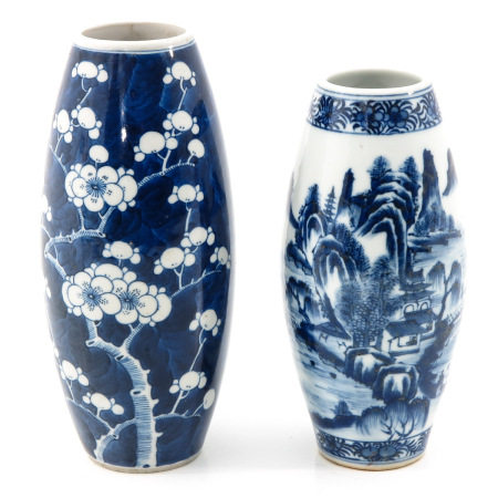 A Lot of 2 Blue and White Vases
