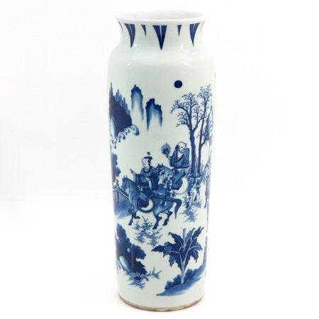A Blue and White Roll Wagon Vase