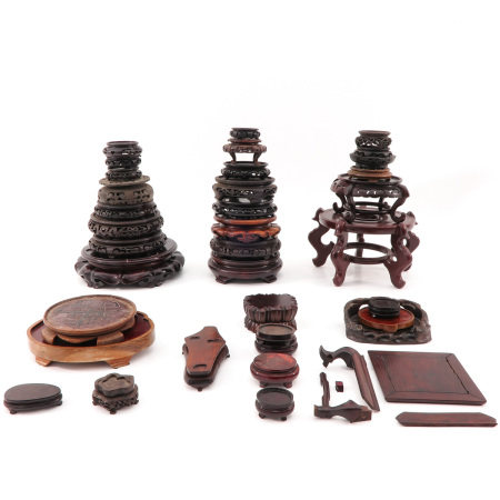 A Large Selection of Carved Wood Bases