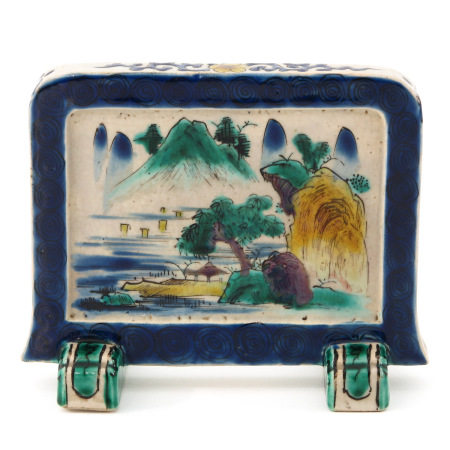 A Small Chinese Porcelain Table Screen