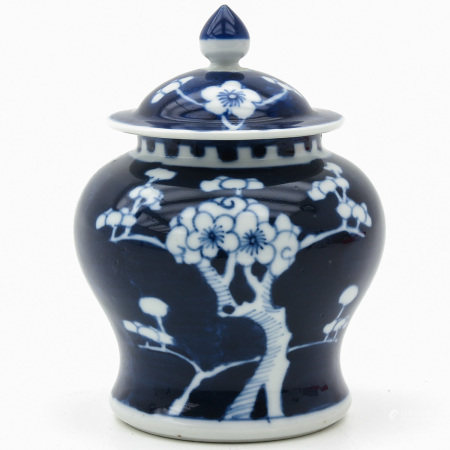A Small Blue and White Jar and Cover