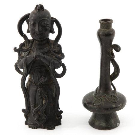 A Bronze Vase and Sculpture