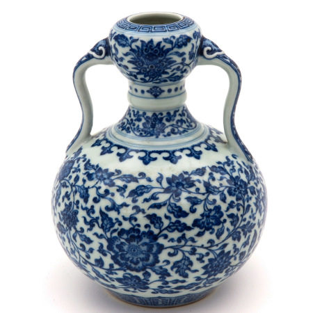 A Blue and White Vase with Handles