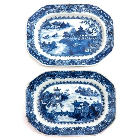 A Pair of Blue and White Serving Trays