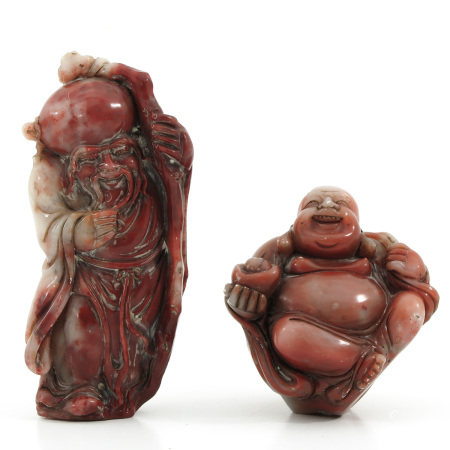 A Lot of Two Carved Sculptures