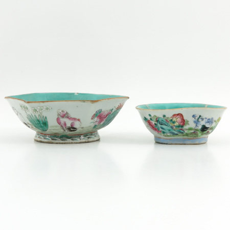 Two Famille Rose Altar Dishes