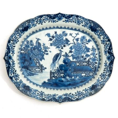 A Blue and White Serving Tray
