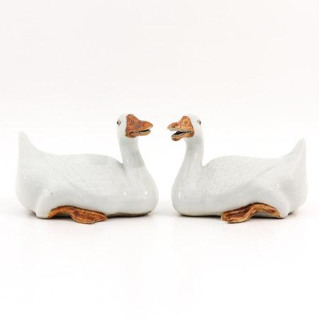 A Pair of Duck Sculptures