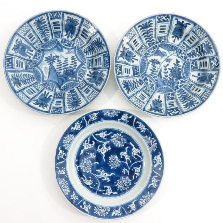 A Collection of 3 Blue and White Plates