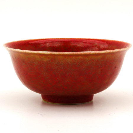 An Orange and Red Speckle Glaze Bowl