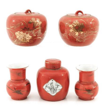A Collection of Orange & Gilt Decor Porcelain