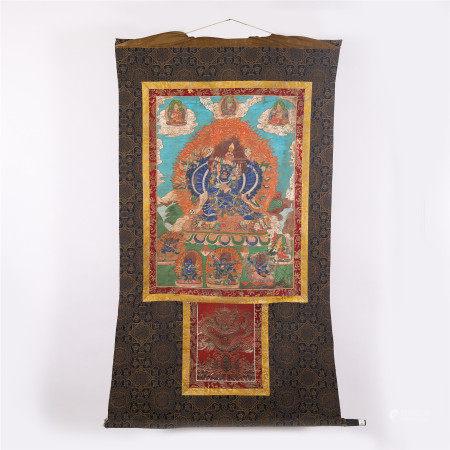 A CHINESE THANGKA FIGURE OF BUDDHA