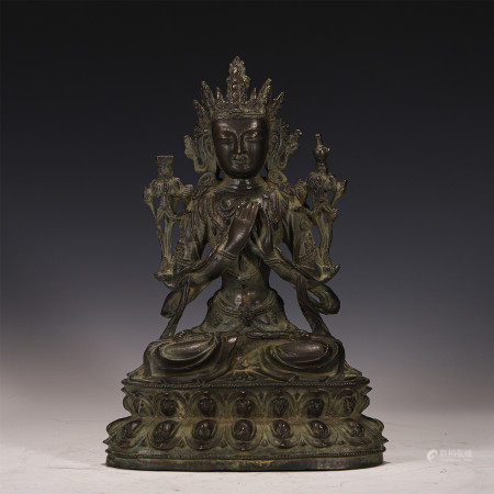 A CHINESE CARVED BRONZE FIGURE OF BUDDHA