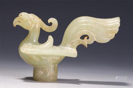 A CHINESE JADE CAVING PHOENIX ROD HEAD