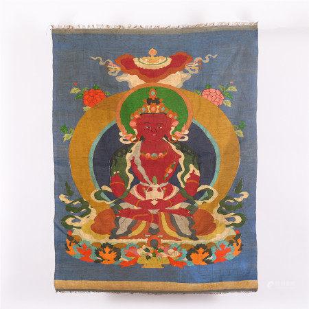 A CHINESE EMBROIDERY FIGURE OF BUDDHA