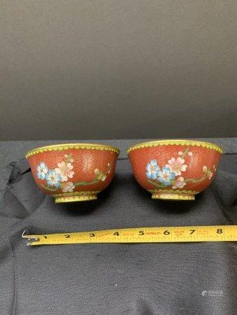 Pair of Cloisonne bowls