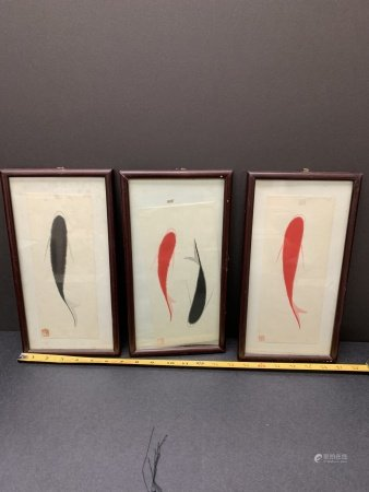 Lot of 3 hand painted Koi Fish- framed