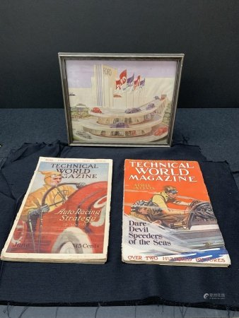 Lot of 2 car magazines and 1 framed picture of Ford